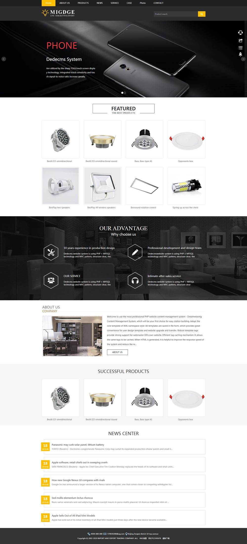 (自适应手机版)响应式灯具织梦模板 灯饰产品英文外贸网站源码下载